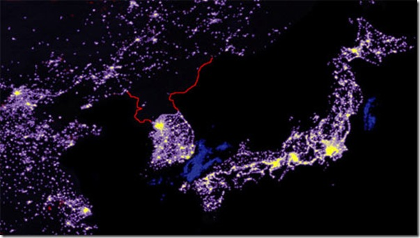 north-korea-night-map